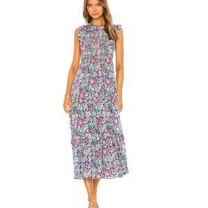 NWT Banjanan floral garden print iris midi dress